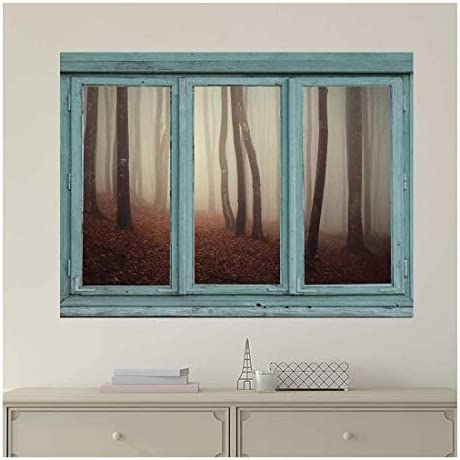 Vintage Teal Window Looking Out Into a Foggy Sepia Forest - Wall Mural, Removable Sticker, Home Decor - 24x32 inches