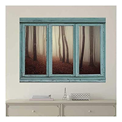 Stunning Object of Art, Created Just For You, Vintage Teal Window Looking Out Into a Foggy Sepia Forest Wall Mural