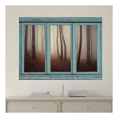 Vintage Teal Window Looking Out Into a Foggy Sepia Forest Wall Mural