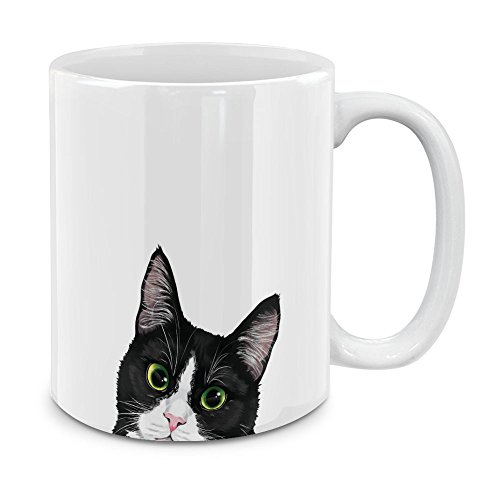 MUGBREW Black White Tuxedo Cat White Ceramic Coffee Mug Tea Cup, 11 OZ - Black White Cat