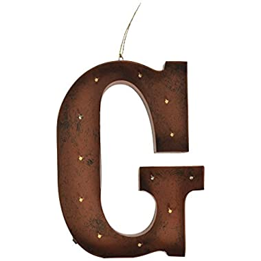 The Gerson Company  G  LED Lighted Metal Letter with Rustic Brown Finish