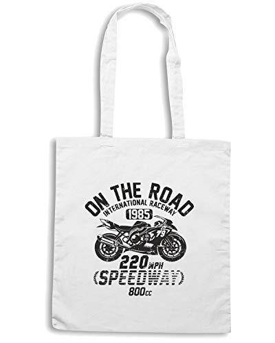 VINTAGE Shirt MOTORCYCLE 66 RACING Bianca Shopper Speed Borsa TB0371 7SqYxZF