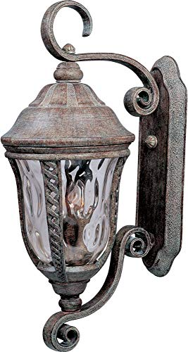 (Maxim 3108WGET Whittier Cast 3-Light Outdoor Wall Lantern, Earth Tone Finish, Water Glass Glass, CA Incandescent Incandescent Bulb , 2.5W Max., Dry Safety Rating, 3000K Color Temp, Standard Triac/Lutron or Leviton Dimmable, Frosted Acrylic Shade Material, 4200 Rated Lumens)