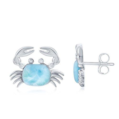 (Sterling Silver High Polish Natural Larimar Crab Stud Earrings)