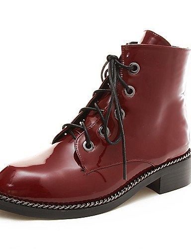 Red hiver décontracté Plate Cn36 Oklok Bottes Uk4 amp; Carrière Xzz robe us6 Chaussures Mode Lacets Bureau femme Arrondi Automne Bottes chaussons forme bout Eu36 I4HCwF4q