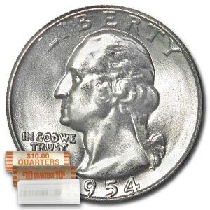 1954 D Washington 90% Silver Quarter Roll 40ct ($10 Face) Brilliant Uncirculated ()