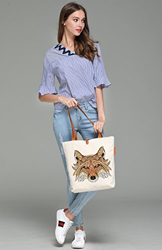 So'each Women's Wolf Geometry Graphic Top Handle Canvas Tote Shoulder Bag