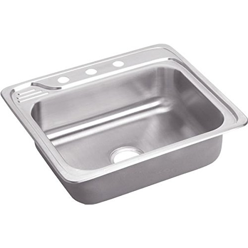 Elkay ECC25222 2-Hole Gourmet 22-Inch x 25-Inch Single Basin Drop-In Stainless Steel Kitchen Sink