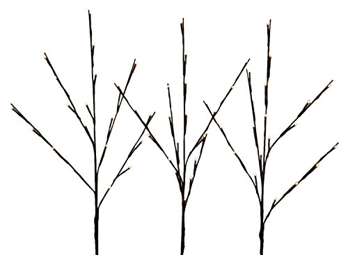 WED 2 Pack Lighted Twig Branches, 26 Inch 60 Led White Wrapped Lighted Branch Stake, 3 Pack Set, White Light for Outdoor and Indoor Use ()