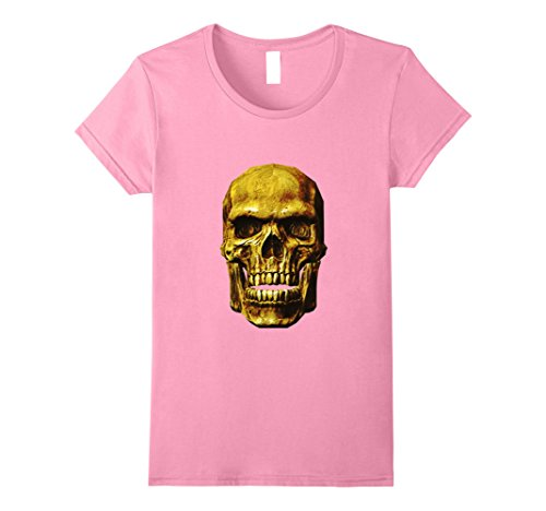 Womens Happy Halloween Skull - Spooky Holiday Gift - T-Shirt Medium Pink