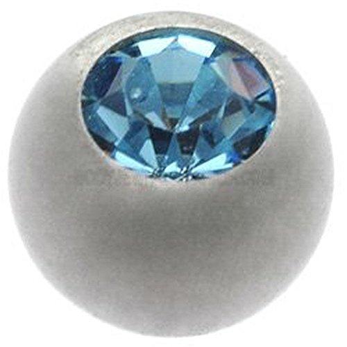 Titanium Threaded Jewelled Balls - Ti-Glo - Light Blue 4mm ()