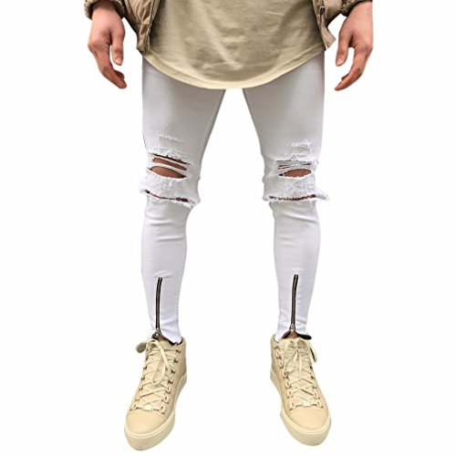 Realdo Mens Skinny Zipper Ankle Jeans, Solid Cotton Denim Slim Hole Pants(White,28)