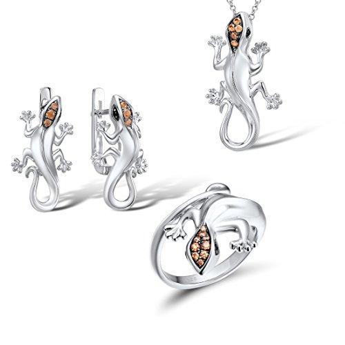 Santuzza 925 Silver Lizard Jewelry Set Ring Earrings Pendant in Black Spinel Champagne Cubic Zirconia Stone (Ring Size: 7)