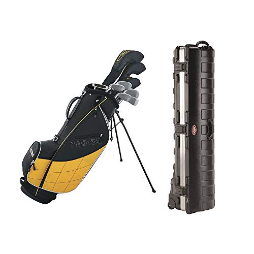 (Wilson Ultra Men's 13-Piece, Left-Handed Golf Club Set w/Bag, Black & YellowSKB Cases Deluxe ATA Standard Hard Plastic Storage Wheeled Golf Bag Travel Case)