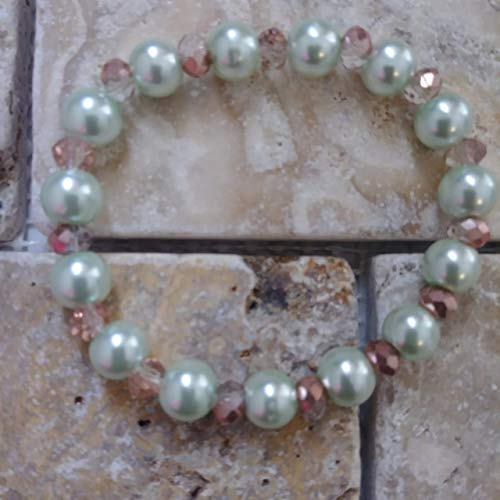 8mm Pearl Pistachio Light Green Stretch Beaded Bracelet or Anklet, Custom Fit by BEADAISHAJEWELRY