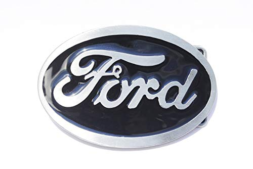 Ford Belt Buckle, Black Enamel Fill Pewter Finish (Belt Ford For Men Buckles)
