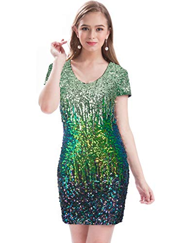 MANER Women's Sequin Glitter Short Sleeve Dress Sexy V Neck Mini Party Club Bodycon Gowns(L, Mint Green/Bule Green/Multicolored) -