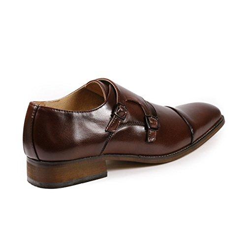 UV SIGNATURE UV010 Mens Double Monk Strap Cap Toe Slip On Loafers Dress Shoes Dark Brown IJPq4c6Kw