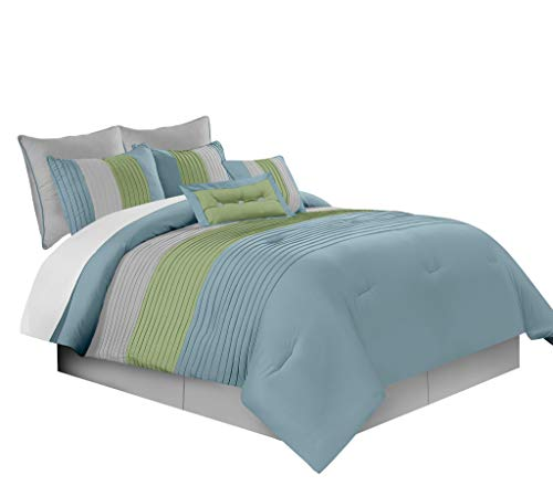 - Chezmoi Collection Loft 8-Piece Luxury Striped Comforter Set (Queen, Sage/Blue/Gray)