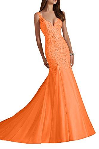 Damen Brautmode breit Schmaler Hochzeitskleider Elfenbein Brautkleider V Spitze traeger Schnitt Charmant Orange ausschnitt dW1n8x50