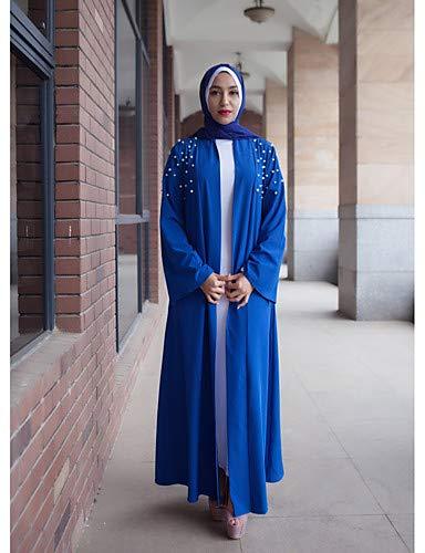 Color basic Tinta jalabiya perla Yfltz Block Unita Donna Da Black Abito Abaya blusa Vintage f44S0vqE
