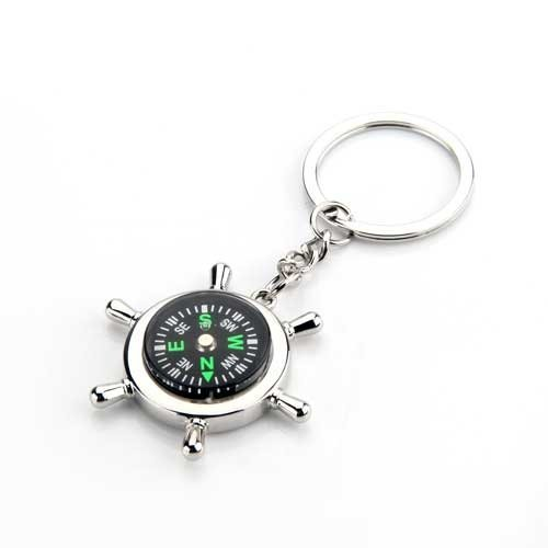 SODIAL(R) Metal Rudder Compass Key Chain Ring Keychain Keyring Fashion Men