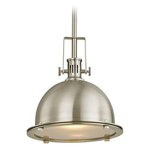 (Design Classics Vaughn Satin Nickel Pendant Light with Bowl/Dome Shade)