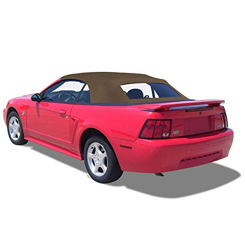 Ford Mustang Complete Two-Piece Factory Style Convertible Soft Top with Heated Glass Window Saddle Sailcloth 1994-2004