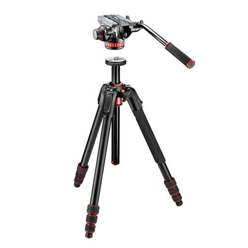 Manfrotto 190 Go 。4-sectionアルミ三脚ツイストロック& 90度列、4脚角度 – ブラック – with Manfrotto mvh502ah Proビデオヘッドwithフラットベース   B01N485XTT