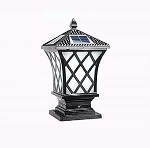 DGF Column Light, Solar Energy Outdoor Waterproof Villa Patio Pillar Lamp (Two Sizes Optional) ( Color : D , Size : L19cmH45cm )