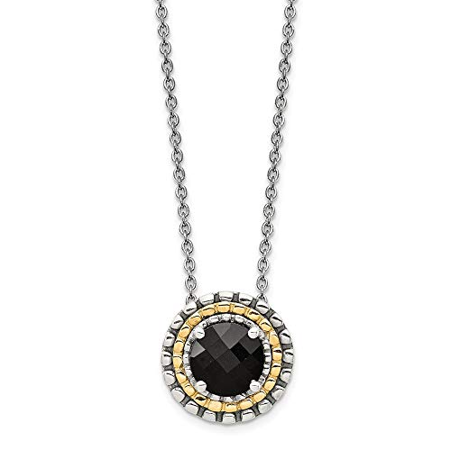 (Sterling Silver with 14K Gold Two Tone Accent Onyx Round Slide Chain Necklace)