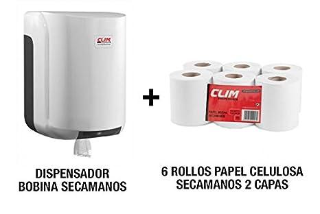 Pack dispensador para bobinas de papel secamanos y 6 rollos de papel secamanos mecha 100%