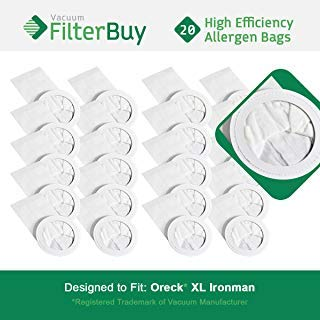 20 - FilterBuy Oreck Ironman Replacement Vacuum Bags. Oreck Part #'s PKIM765 & 61963. Allergen Filtration Vacuum Bags designed by FilterBuy to replace Oreck XL Ironman Vacuum Bags