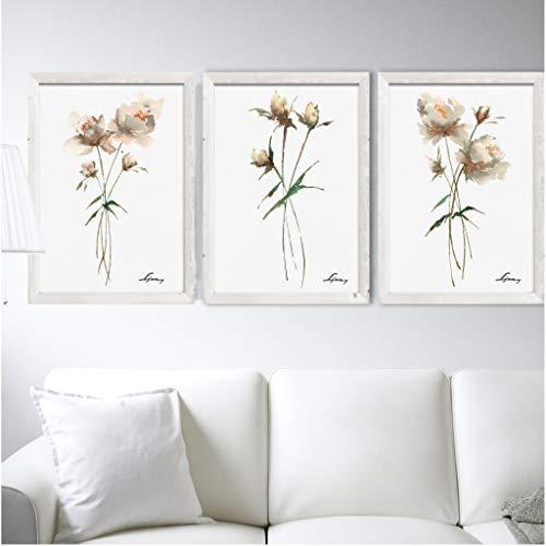 Artdecowatercolorpeony Set 3 Art Prints Flowers Illustration Floral Watercolor Painting Minimalist Botanical Wall Art Prints Living Room Decor Dailymail