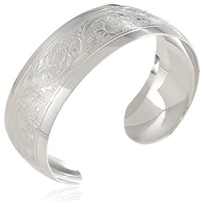Sterling Silver Polished Embossed Cuff Bracelet from Amazon Curated Collection