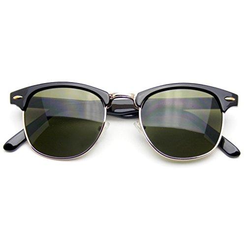 Emblem Eyewear - Premium Half Frame Horn Rimmed Sunglasses Metal Rivets (Black Gold, - Lunette Eyewear