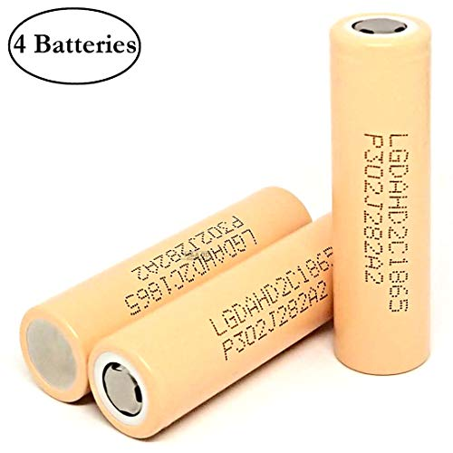 M&A BD 4 Pack ICR18650 HD2C 2200mAh 25A 3.7V Rechargeable LG Lithium-ion Flat Top Battery for Electric Tools, Toys, LED Flashlights, Torch, and Etc (Best High Drain 18650 Battery)