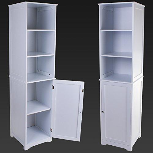 Marko Bathroom Tallboy Storage Cabinet White Wooden Cupboard Bathroom Hallway Unit Shelves Door