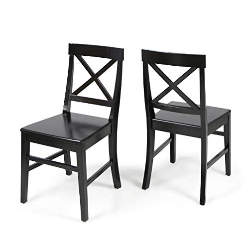 Christopher Knight Home Truda Farmhouse Black Finish Acacia Wood Dining Chairs