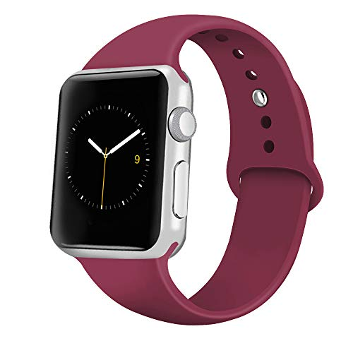 iGK Sport Band Compatible with Apple Watch 38mm/40mm, Soft Silicone Sport Strap Replacement Bands for iWatch Apple Watch Series 4 Series 3, Series 2, Series 1 38mm/40mm Wine Red Large