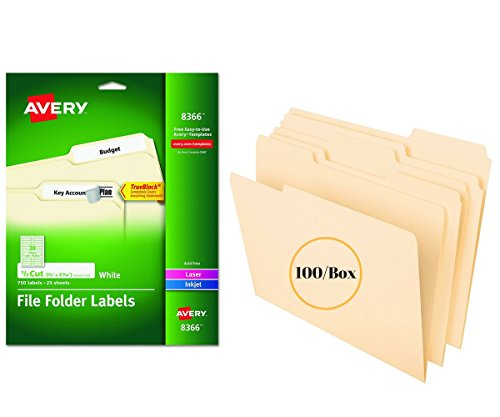 Office Products Bundle Avery File Folder Labels for Laser and Inkjet Printers, 0.6 x 3.43 Inches, White, Pack of 750 (8366) W File Folders, Letter Size, 1/3 Cut, Manila, 100 per Box (752 1/3)