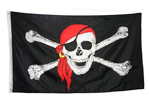 (DFLIVE Pirate Red Scarf Bandana Crossbones Skull Flag 3 x 5 Ft Jolly Roger Banner)