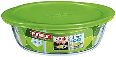 Pyrex round dish with plastic lid ,clear,7708193