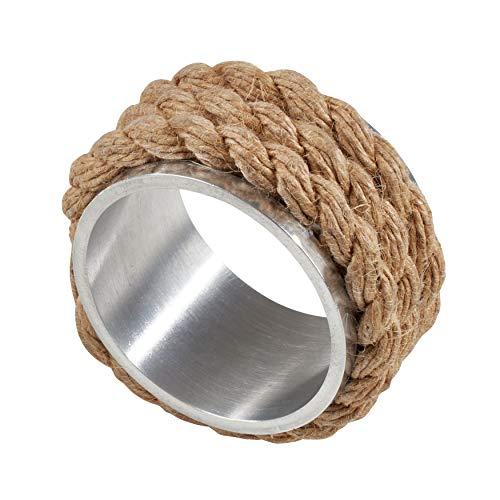Aluminum Rings Napkin (SARO LIFESTYLE NR139.N Ménagère de fête Aluminum Napkin Rings with Rope Design (Set of 4), 2