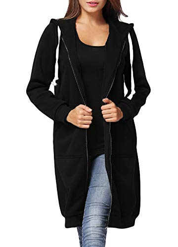al Zip up Hoodies Pockets Tunic Sweatshirt Long Hoodie Outerwear Jacket Dress Plus Size Black ()
