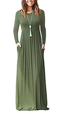FOMANSH Women Long Sleeve Maxi Dress Round Neck Loose Plain Casual Long Dresses With Pockets