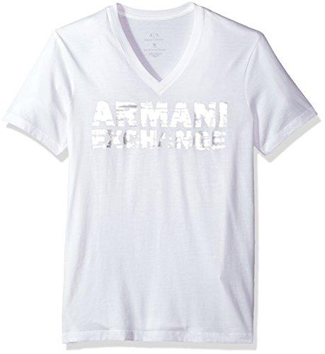 A X Armani Exchange Men's Metallic Printed V Neck Tee, White, - Armani Clothes Men Exchange For