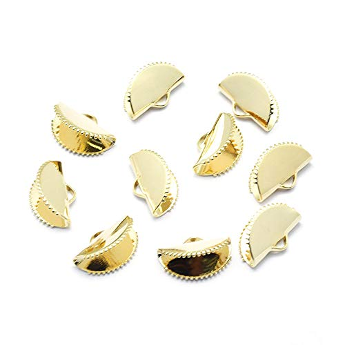 Fashewelry 40Pcs 18K Gold Plated Electroplated Nickel Free Brass Fan Crimp Ribbon Ends 9x15mm Half Circle Clip Clamp Cord Caps for DIY Tassel Jewelry Craft Making