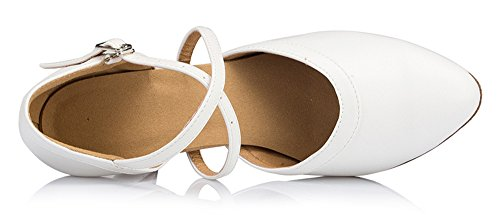 Cross Strap Leather Ankle Patent Shoes White Criss Honeystore Women's Latin Synthetic Dance Strap WSqfxXF