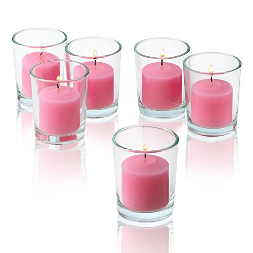 Light In The Dark Clear Glass Round Votive Candle Holders with Soft Pink Votive Candles Burn 10 Hours Set of 36